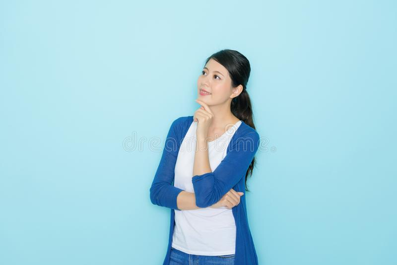 Beauty pretty college student girl thinking future stock images