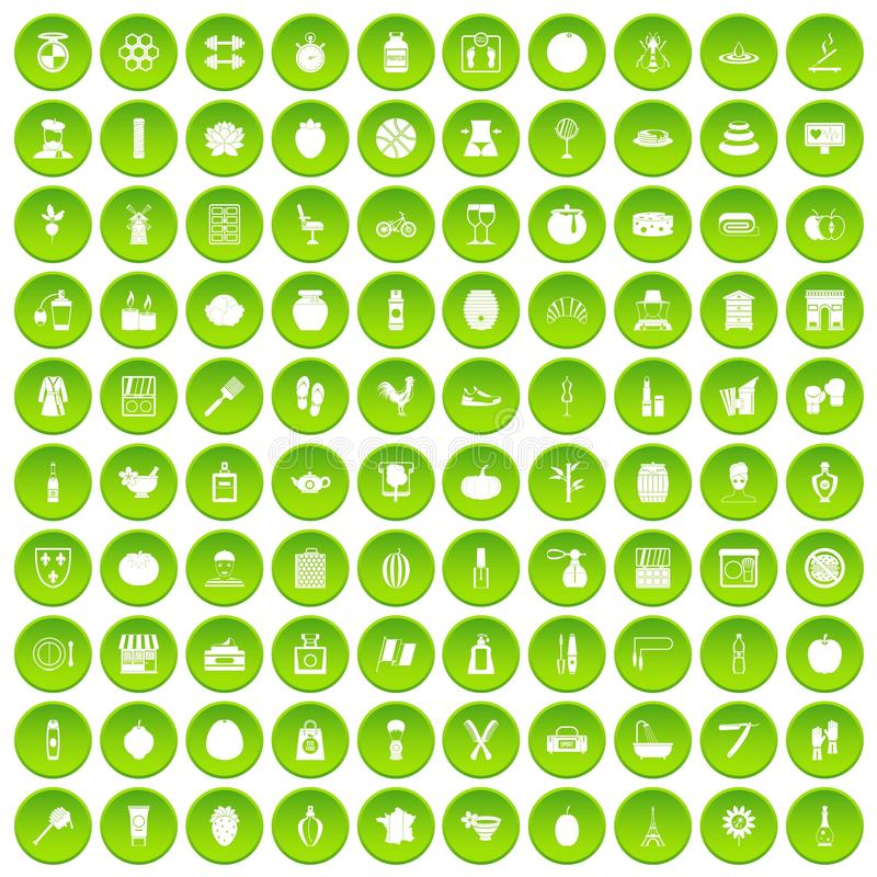 100 beauty product icons set green circle royalty free illustration