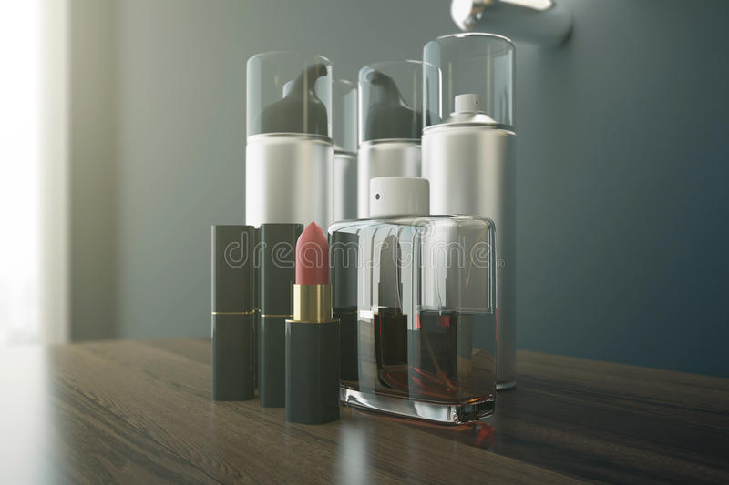 Beauty products closeup. Close up of wooden dressing table with red lipstick and various other beauty products. 3D Rendering royalty free illustration