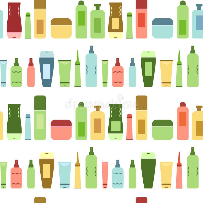 Beauty products colorful cosmetic bottles and tubes on white seamless pattern, vector stock illustration
