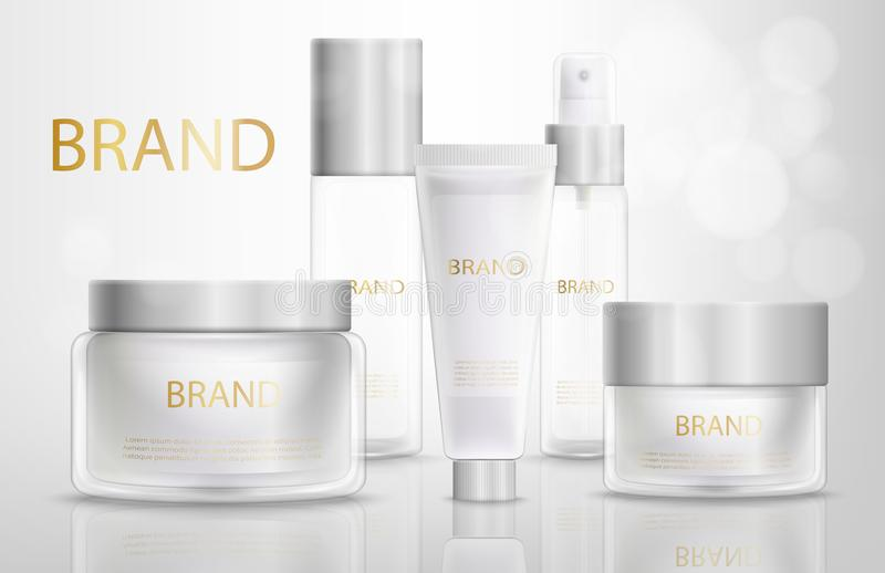 Beauty Products Containers Realistic Vector Set. Collection of Branded Glass Bottles, Plastic Tubes with Cosmetics Products on Glossy Surface Realistic Vector vector illustration