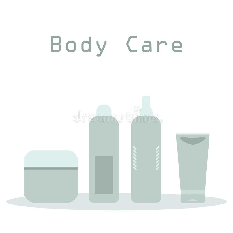 Beauty products gray and blue cosmetic bottles and tubes on white, vector frame stock illustration