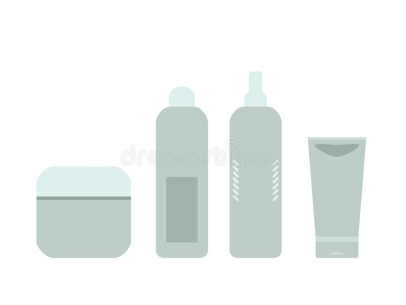 Beauty products gray and blue cosmetic bottles and tubes on white, vector frame royalty free illustration
