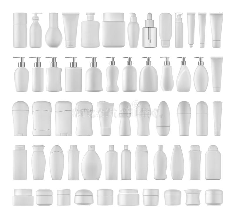 Beauty products set. Beauty products set for body on white background. 3D illustration vector illustration