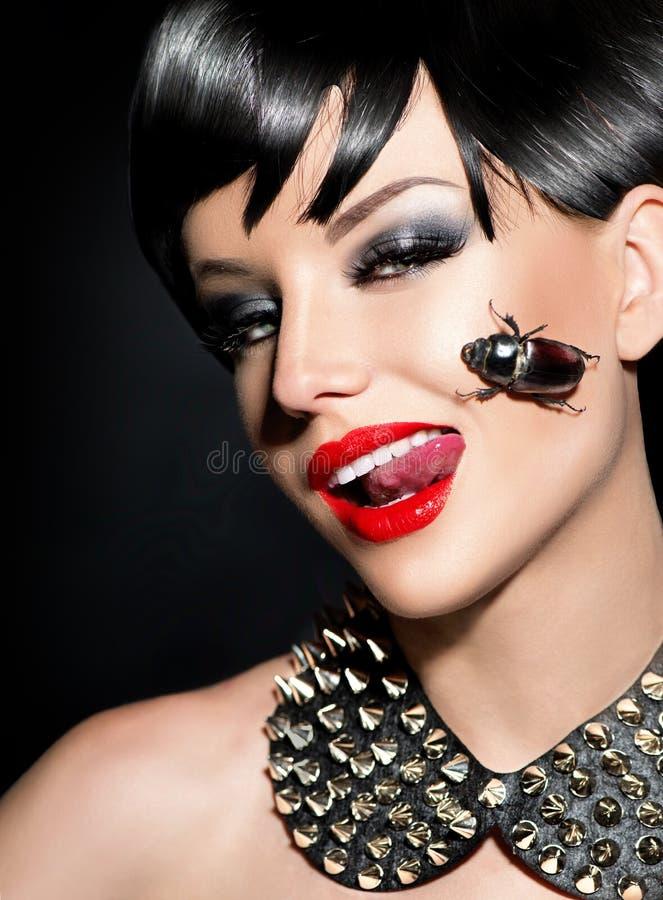 Beauty punk fashion model girl stock images