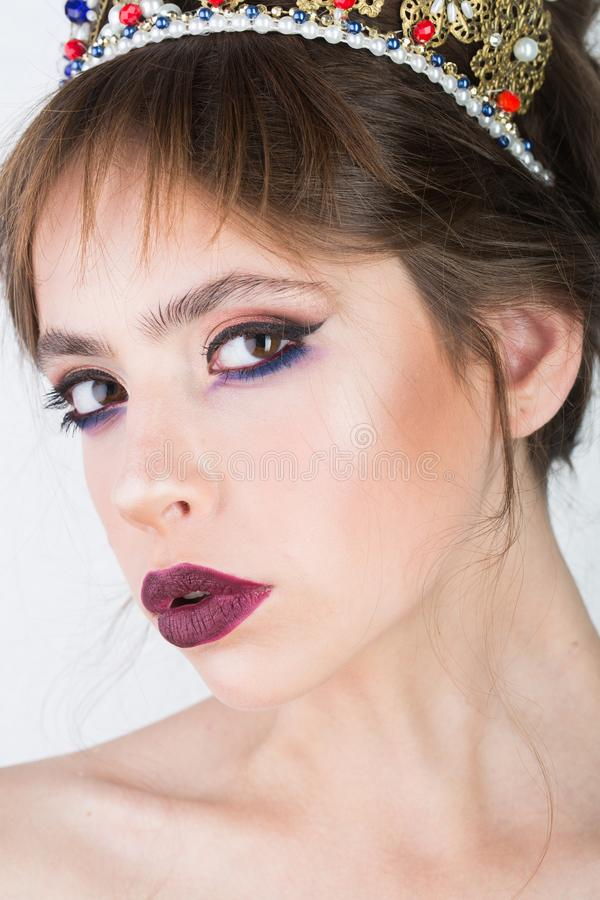 Beauty queen and fashion. Beauty and fashion of pretty woman with stylish makeup on face royalty free stock image