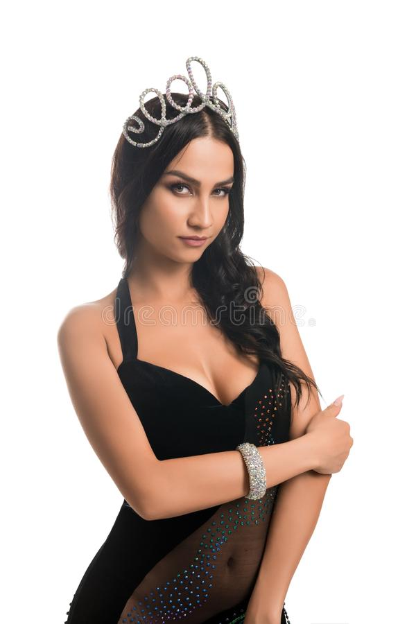 Beauty queen in silver crown and black dress stock photography