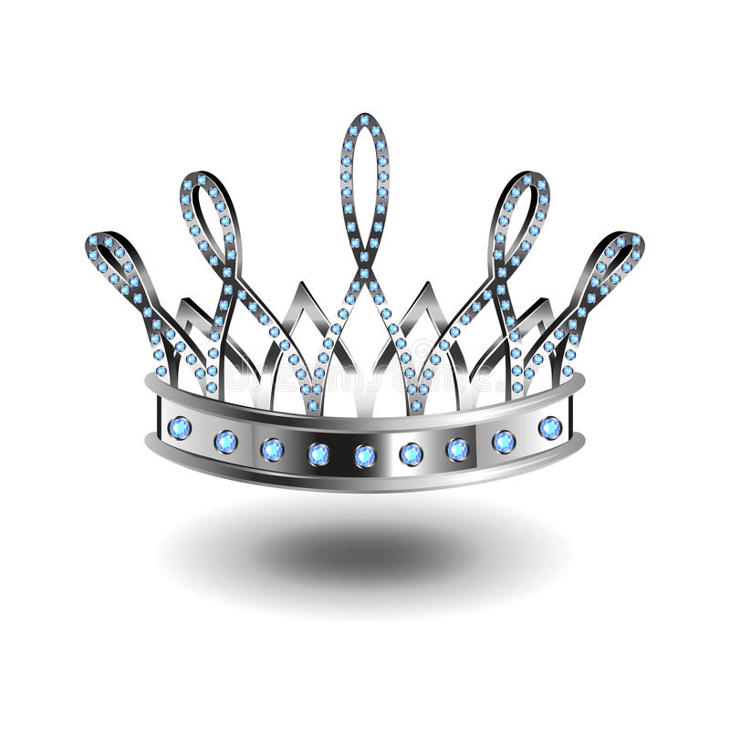 Beauty queen silver crown isolated on white vector royalty free illustration