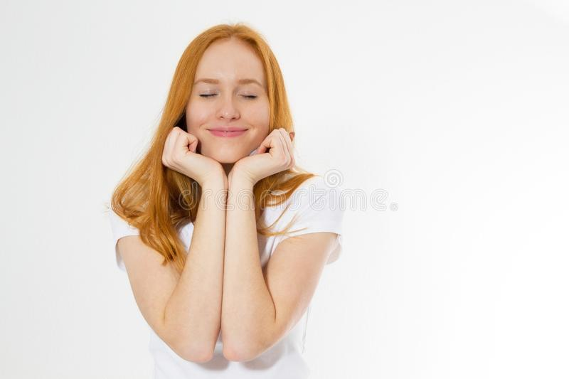 Beauty red hair woman with charming smile to you with health skin, redhair  on white background, female beauty. Human royalty free stock image
