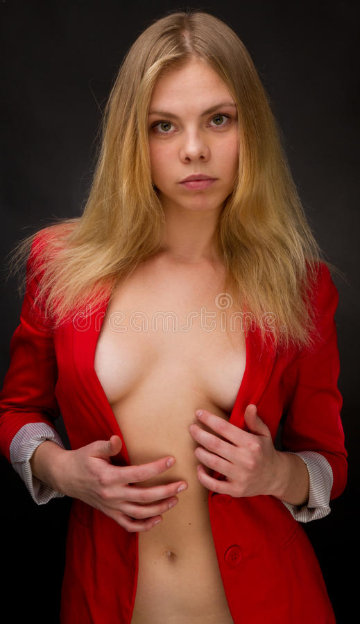 Beauty In A Red Jacket Stock Photos