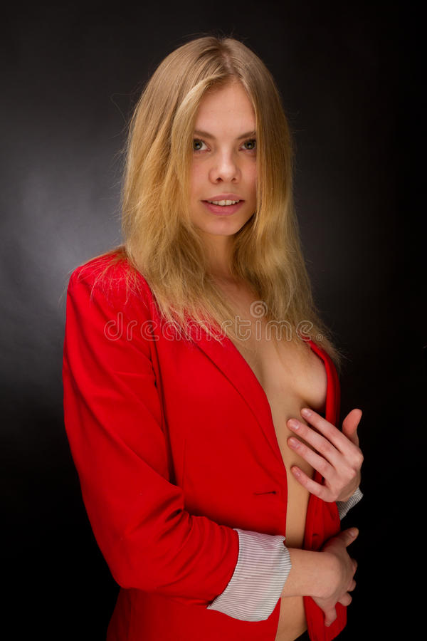 Beauty In A Red Jacket Stock Images