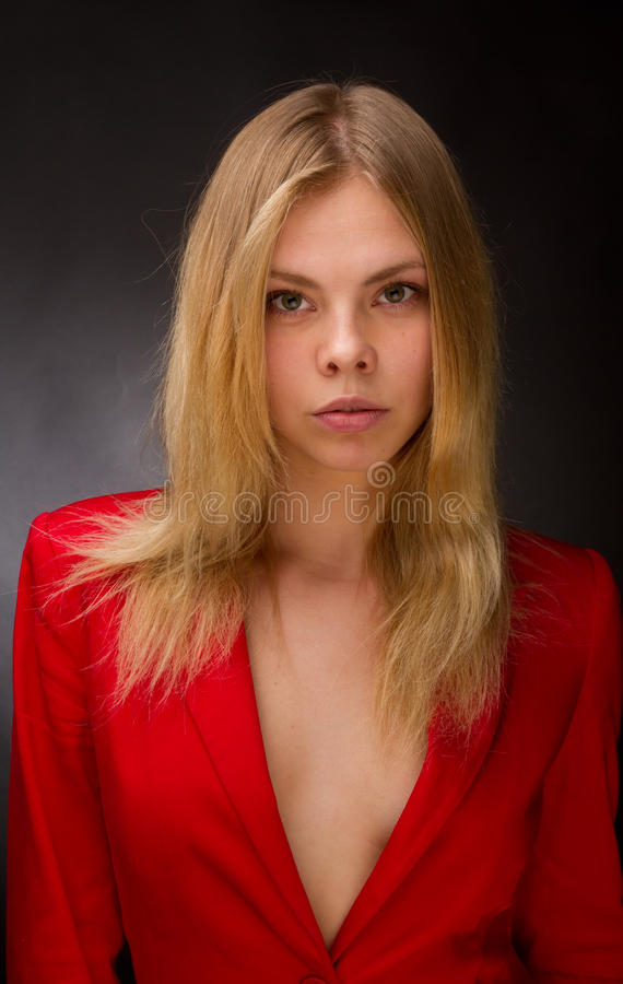 Download Beauty in a red jacket stock photo. Image of background - 27772992