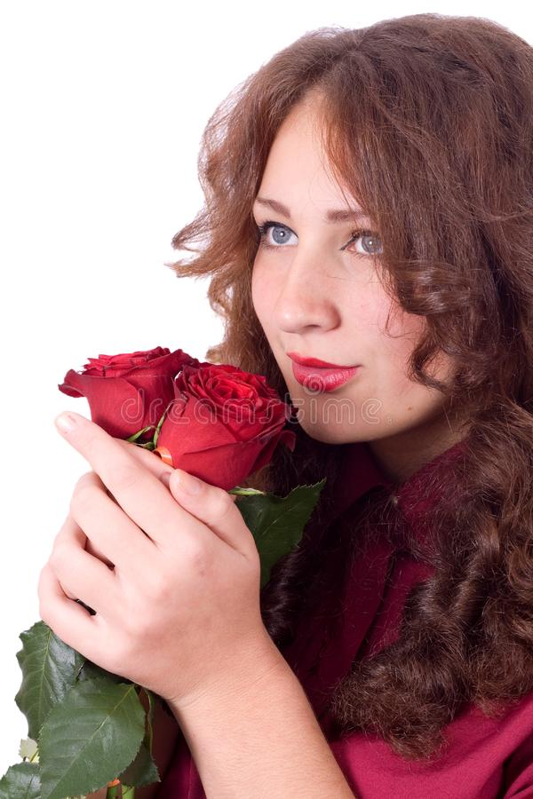 Beauty with red roses royalty free stock images