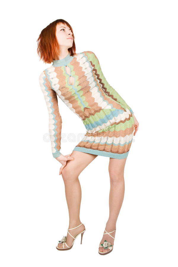 Beauty redhead woman in fashion dress, isolated