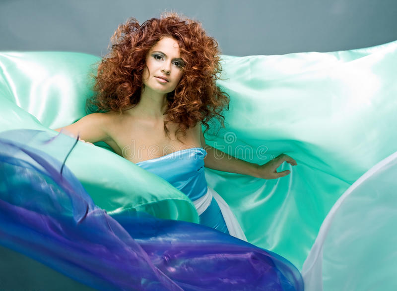 Beauty Redheaded Girl In Fashion Dress Royalty Free Stock Photos