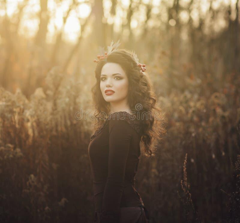 Beauty romantic girl outdoors stock photo