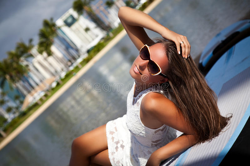 Beauty Romantic Girl Outdoors. Freedom concept. royalty free stock image