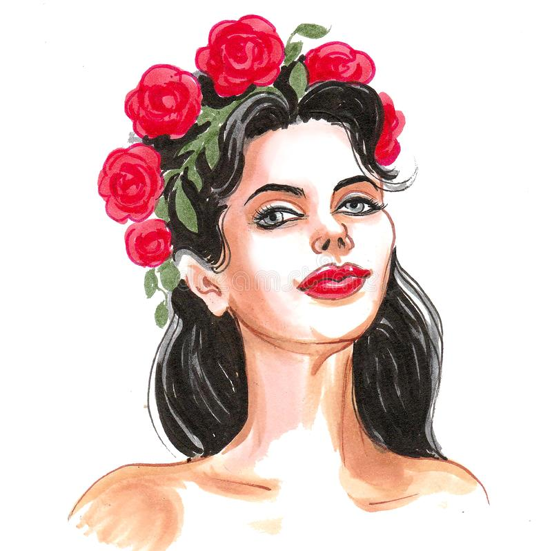 Beauty and roses royalty free illustration