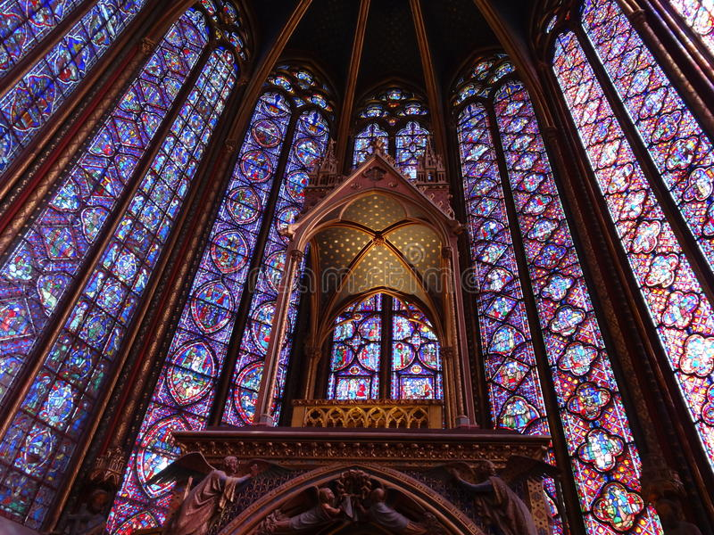 The beauty of saint--chapelle's stained glass windows royalty free stock image