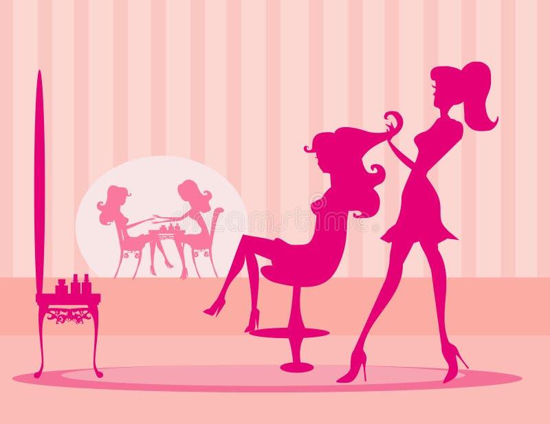 Beauty salon. Vector illustration of the beautiful woman in beauty salon vector illustration