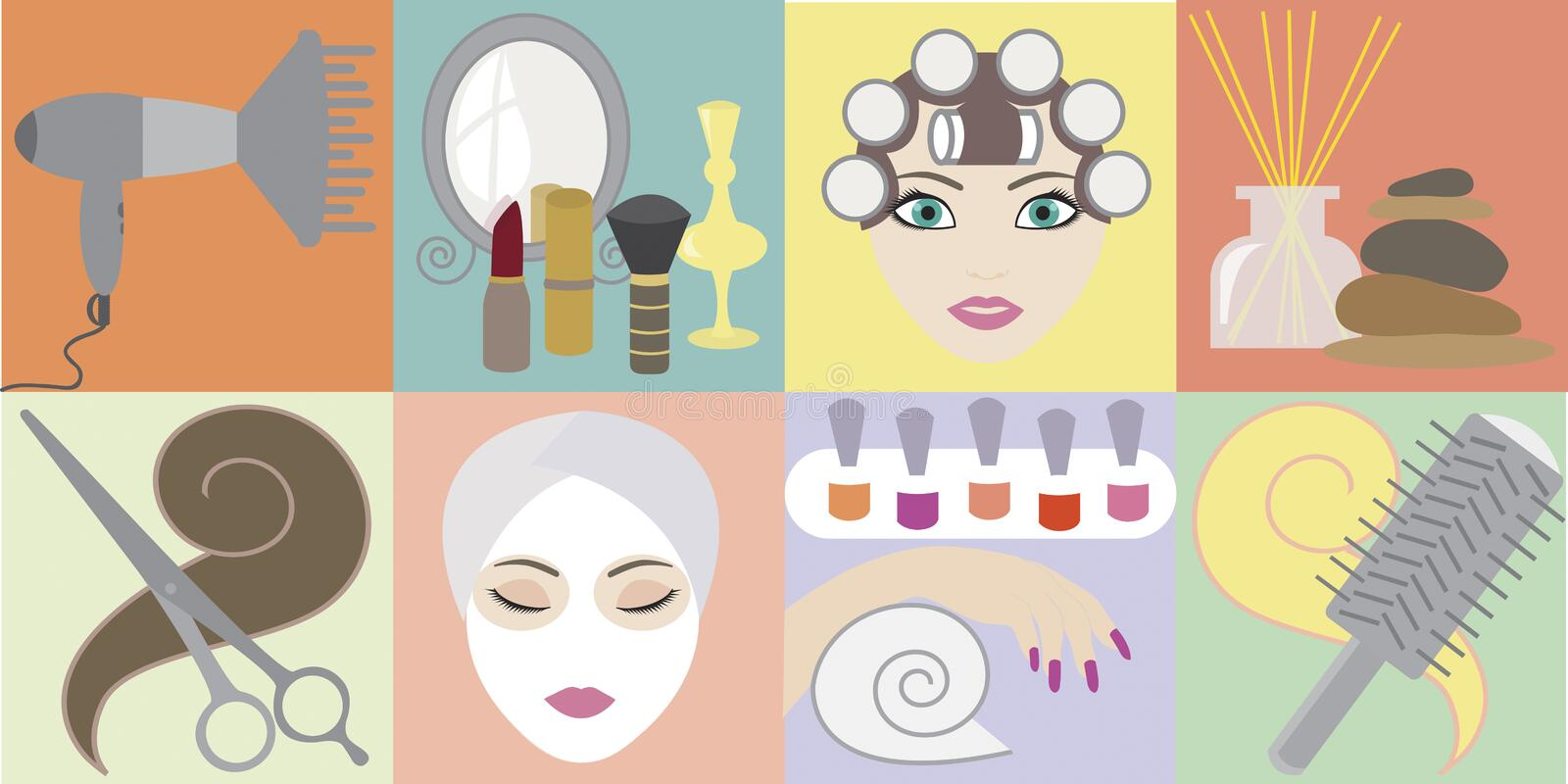 Beauty salon. Attributes for beauty salon: hairdressers and cosmetic accessories.Vector illustration EPS10 stock illustration
