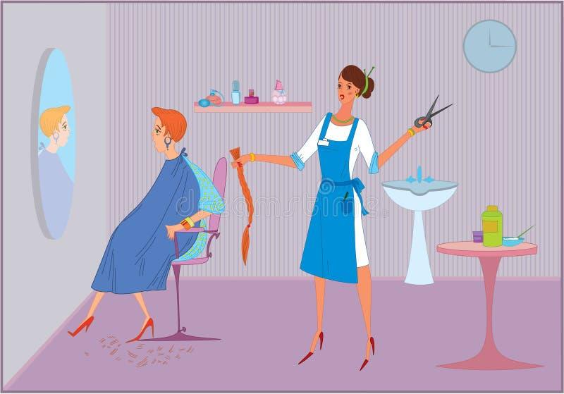 Beauty salon bad haircut. Beauty salon worker girl doing haircut to her client vector illustration