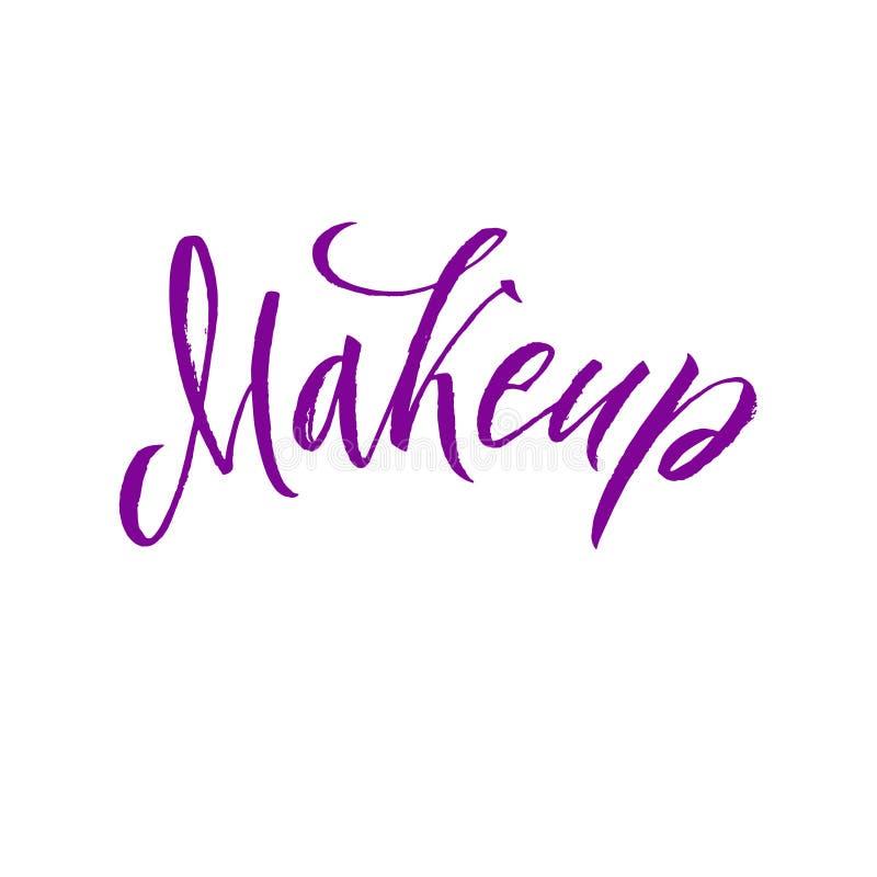 Beauty Salon Badge. Makeup Brushes. Make Up Artist badge Vector Illustration royalty free illustration
