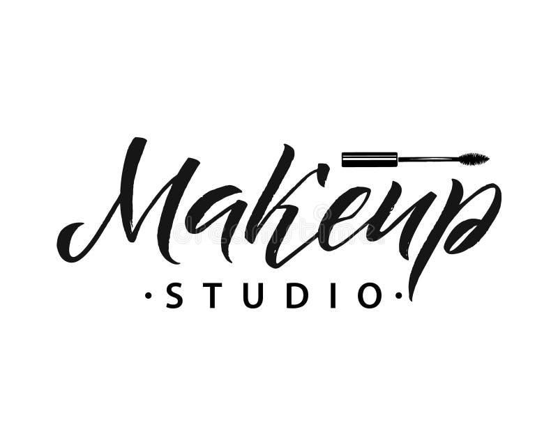 Beauty Salon Badge. Makeup Brushes. Make Up Artist badge Vector Illustration stock illustration