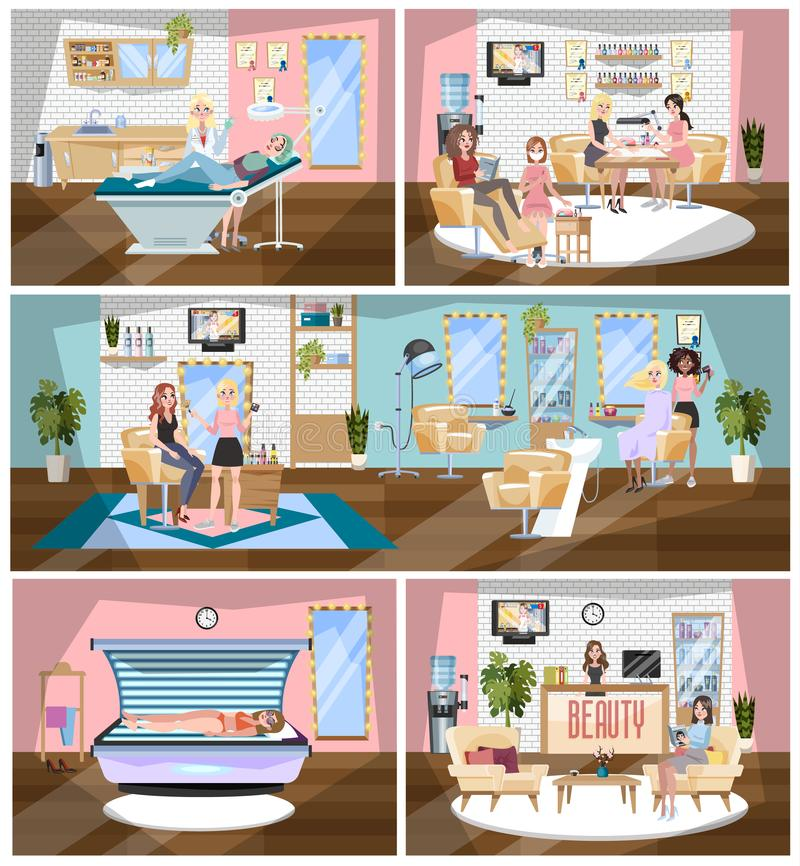 Beauty salon building interior. Making fashion haircut. Beauty salon building interior. Making haircut, fashion manicure and pedicure, spa, cosmetology and vector illustration