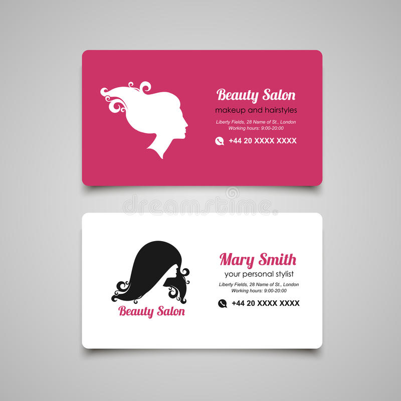 Beauty salon business card design template with beautiful woman beauty salon business card design template with womans profile colourmoves