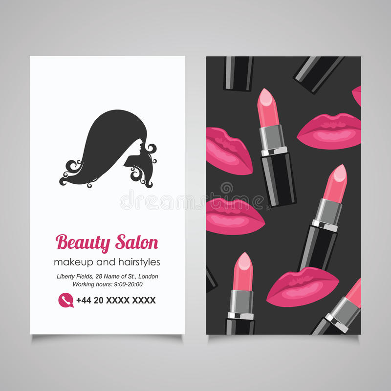 Beauty Salon Business Card Design Template With Beautiful Woman ...