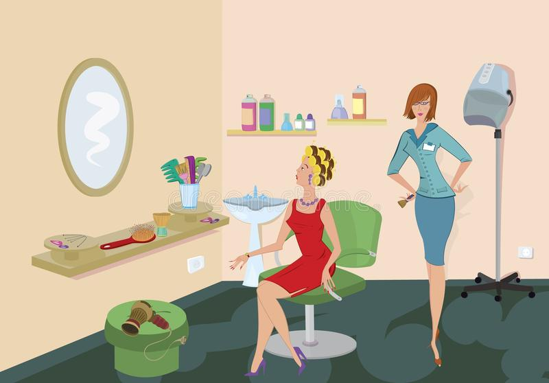Download Beauty Salon Client In Red Dress Stock Vector - Image: 21890196