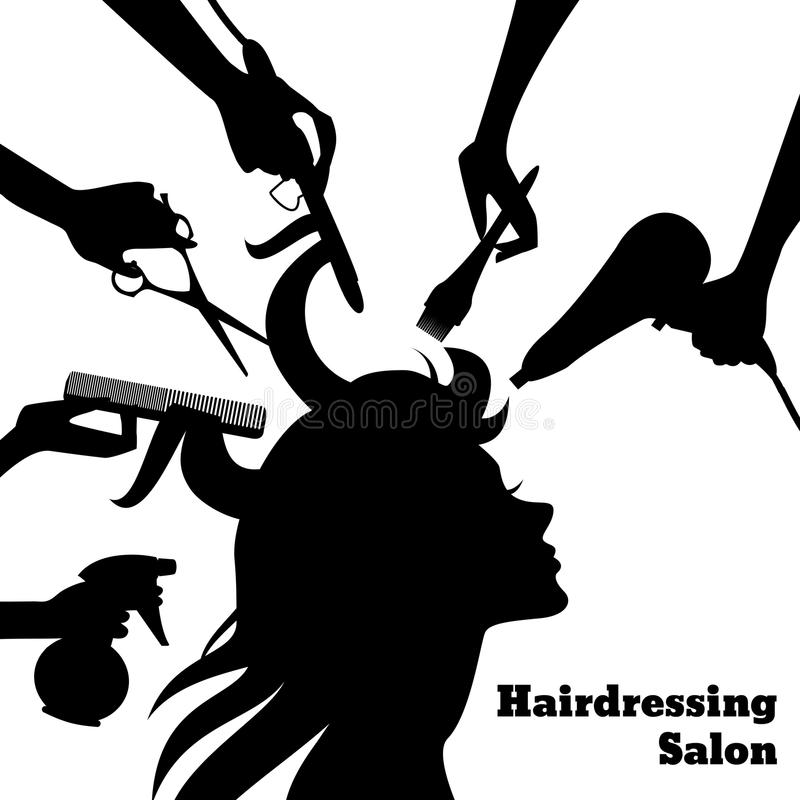Beauty Salon Concept. With female profile silhouette and hairdresser hands with accessories vector illustration royalty free illustration
