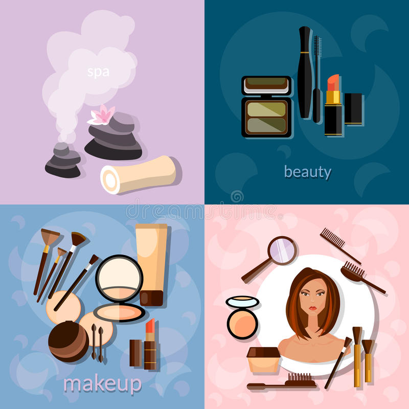 Beauty salon concept makeup beautiful woman face. Professional make-up details cosmetology spa vector icons stock illustration