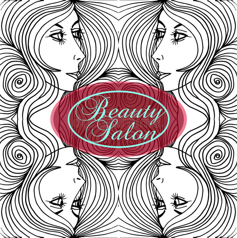 Beauty Salon Cover with Abstract beautiful woman face. Illustration on the background vector illustration