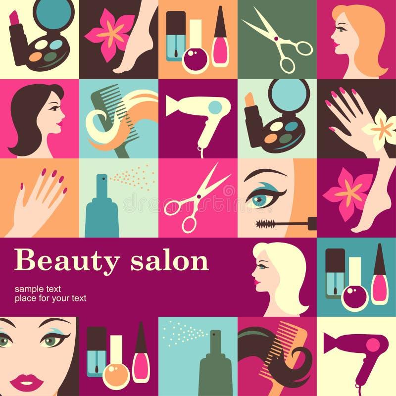 Beauty salon. Design template card. Vector background royalty free illustration