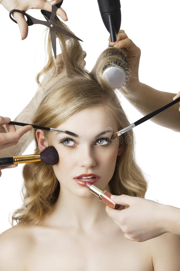 In beauty salon, the girl looks up at right stock image