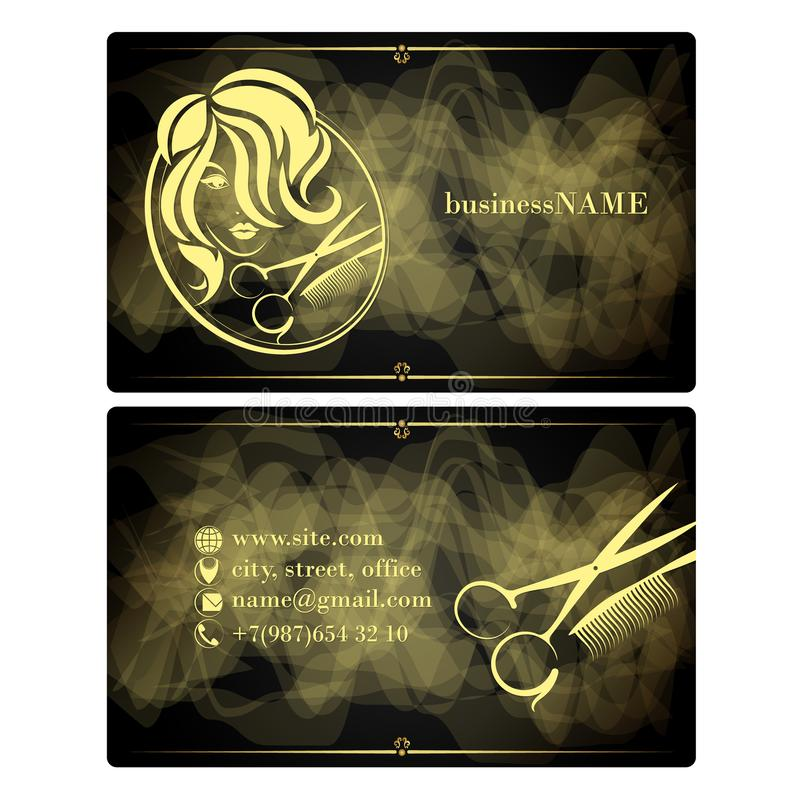 Beauty salon for women visit card. Beauty salon and hairdresser for women visiting card concept vector illustration