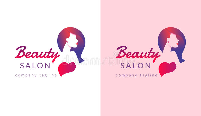 Beauty salon logo design with female face and haircut for stylist brand. Modern gradient design for beauty poster with glamorous woman having stylish hair