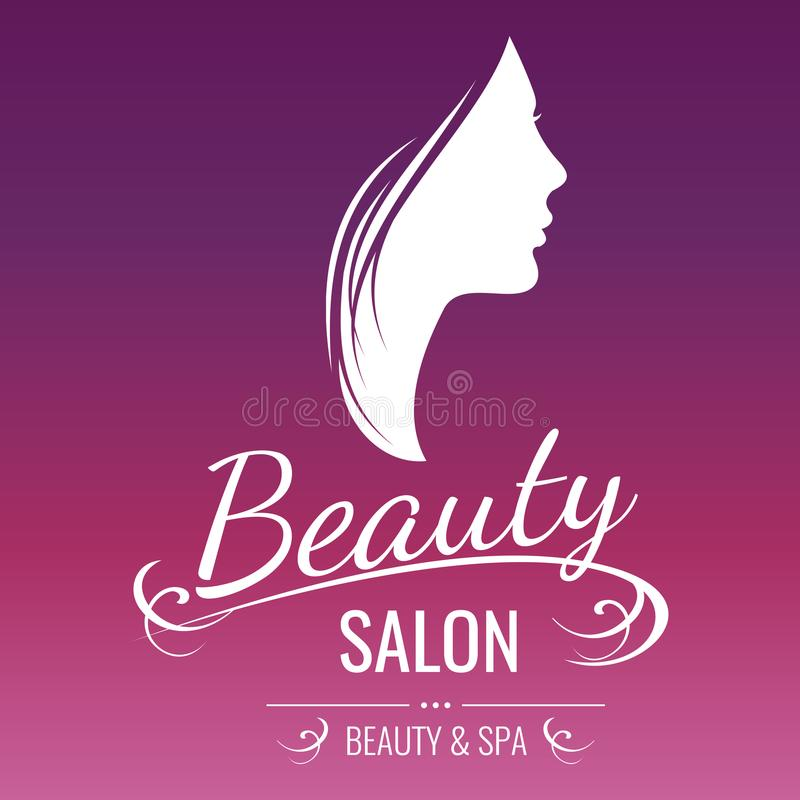 Beauty salon logo design with woman silhouette on pink background vector illustration