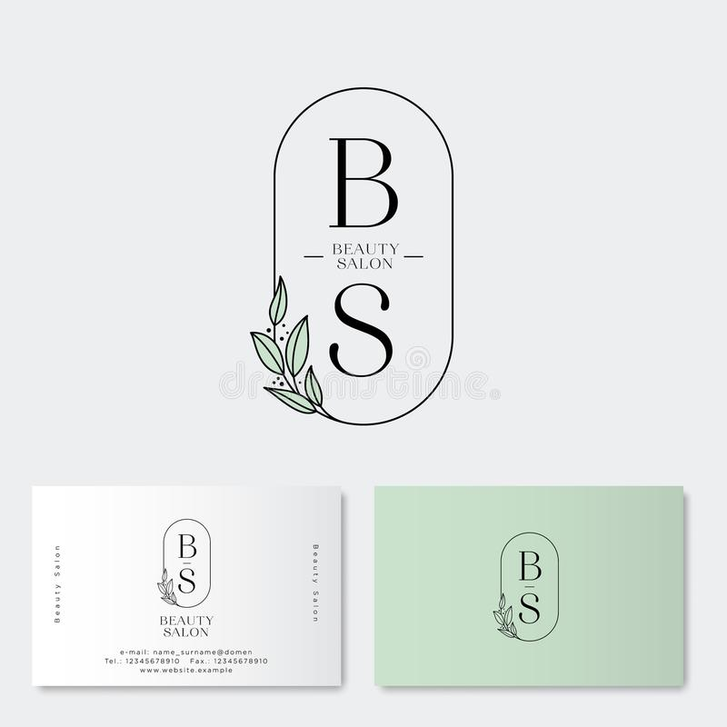 Beauty salon Logo and identity. B and S monograms. Emblem of female clothing or lingerie. Elegant round icon with leaves and lette royalty free illustration