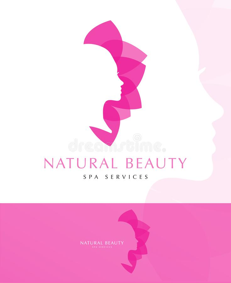 PINK FLOWER WOMAN LOGO TEMPLATE vector illustration