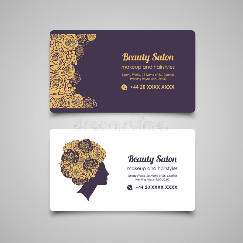 Beauty salon luxury business card design template with beautiful download beauty salon luxury business card design template with beautiful stock vector illustration of beauty reheart Image collections