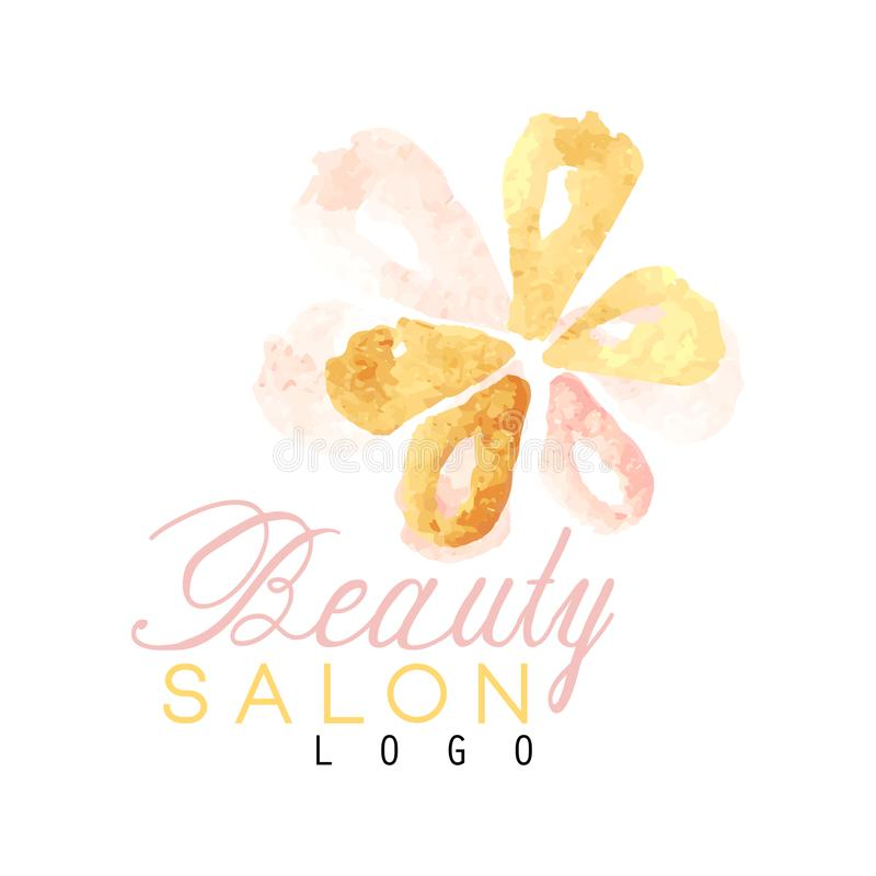 Beauty salon original logo design with delicate textured flower. Label with gentle colors. Hand drawn vector vector illustration