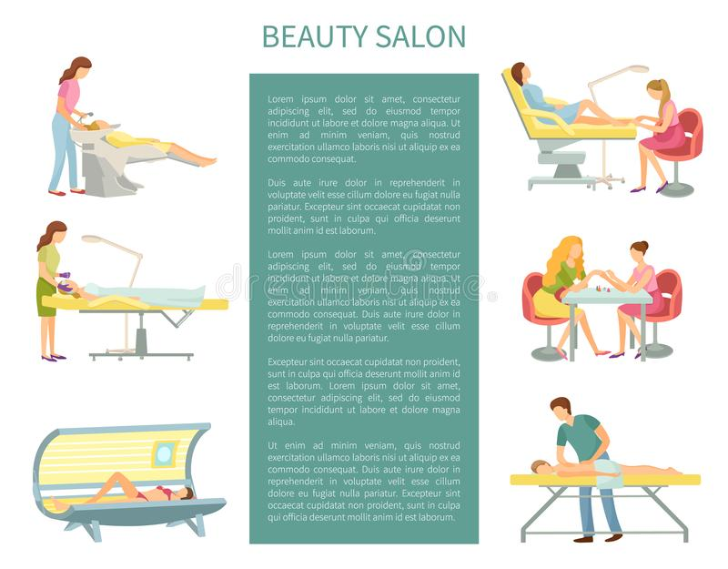 Beauty Salon Procedures and Service Set Vector royalty free illustration