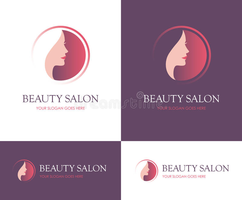 Beauty salon round logo. Round logo for beauty salon, face and skin care product, cosmetics, makeup or spa center with beautiful woman profile