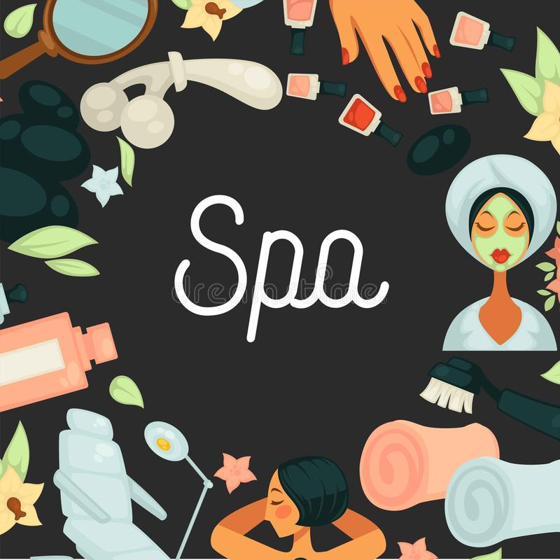 Spa procedures skincare and beauty salon service stock illustration