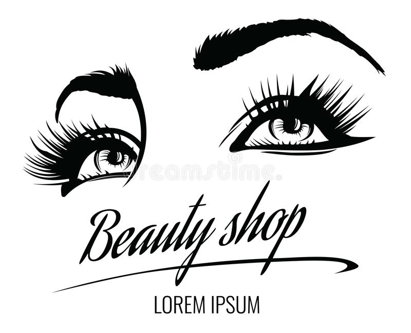 Beauty Salon Vector Poster With Eyes Eyelashes And