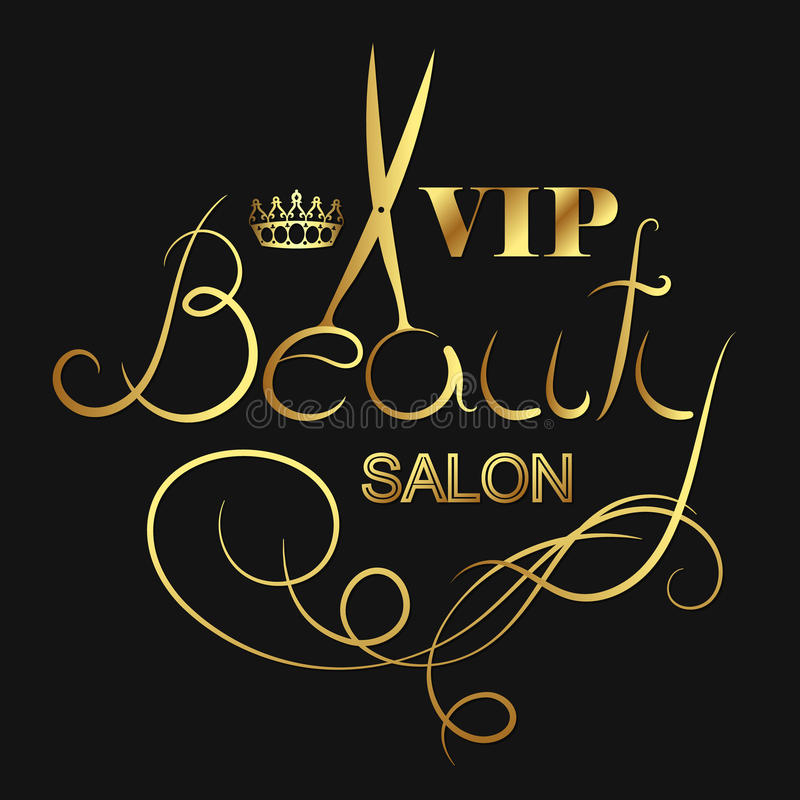 Beauty salon VIP. Beauty salon and hairdresser VIP symbol royalty free illustration