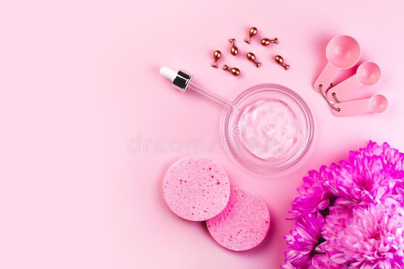 Beauty Salon Wellness Procedures Mask Face Care Banner Design Template Pink Flat Lay Background Stock Photo Image Of Ampoule Liquid 184142880